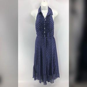 Sangria  Blue and White Polka Dot Dress